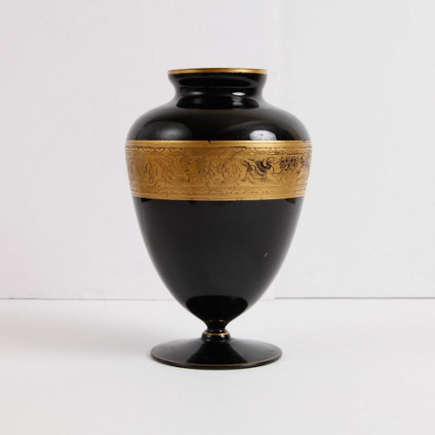 Maryland Glass Company Black Amethyst Vase Ebth