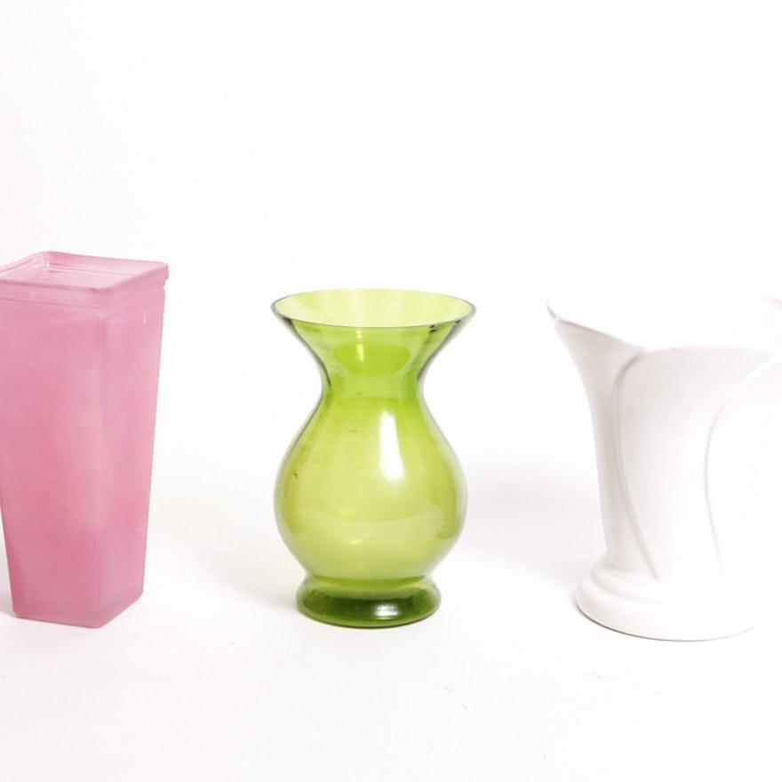 Trio Of Colored Vases Ebth