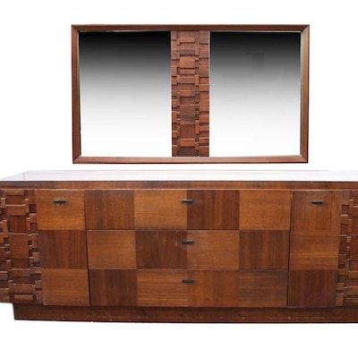 Mid Century Modern Brutalist Style Wooden Dresser and Mirror - Online Furniture Auctions Vintage Furniture Auction Antique