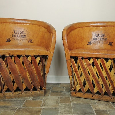 Mexican Handmade Leather Equipal Chair Set - Online Furniture Auctions Vintage Furniture Auction Antique