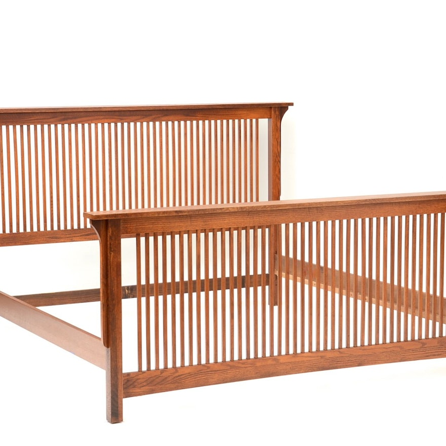mission style king sized bed frame in oak - Mission Style Bed Frame