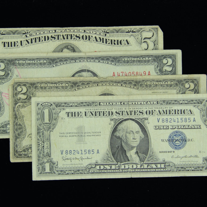 Assorted Vintage Us Currency And Silver Certificates Ebth