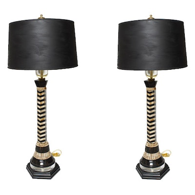 Antique floor lamps table lamps and light fixtures auction in pair of black and cream safari style table lamps aloadofball Choice Image