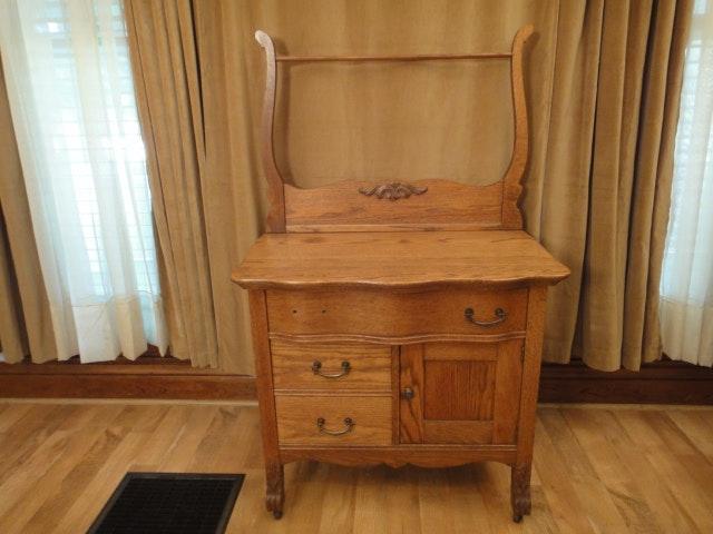 1800s Antique Oak Dry Sink With Towel Bar Ebth