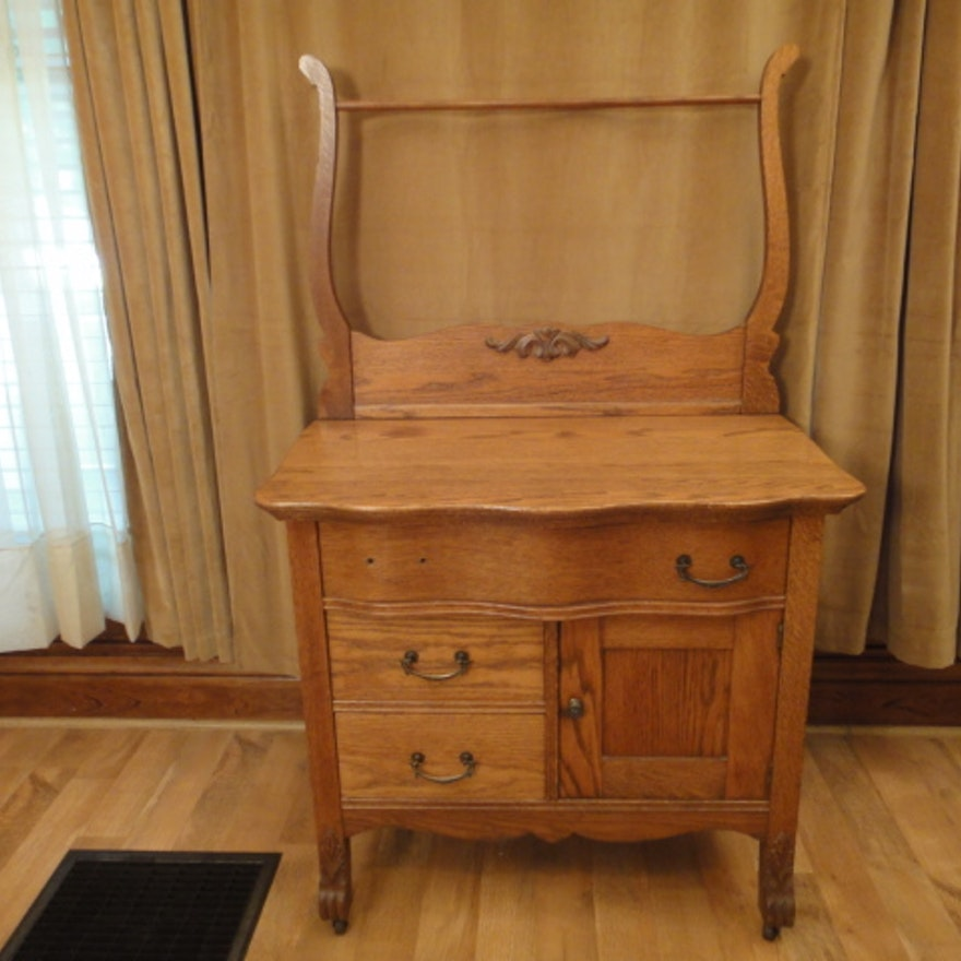 1800s Antique Oak Dry Sink With Towel Bar