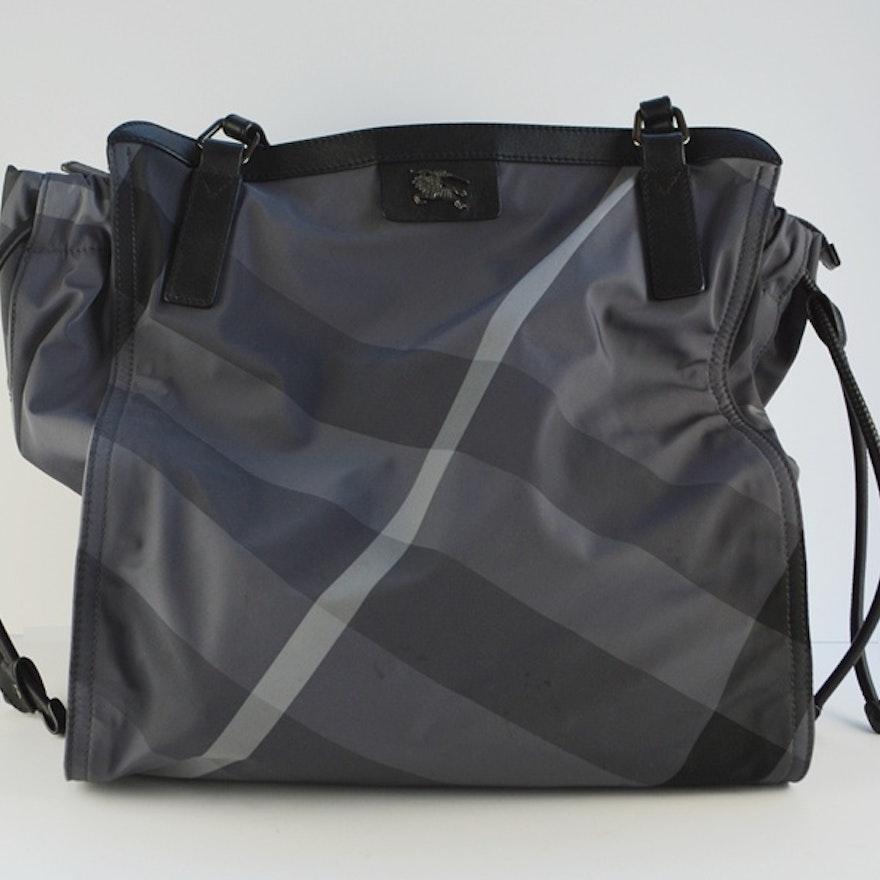Burberry Leather Trimmed Charcoal Nylon Nova Tote Bag   EBTH 03ae79adfb474