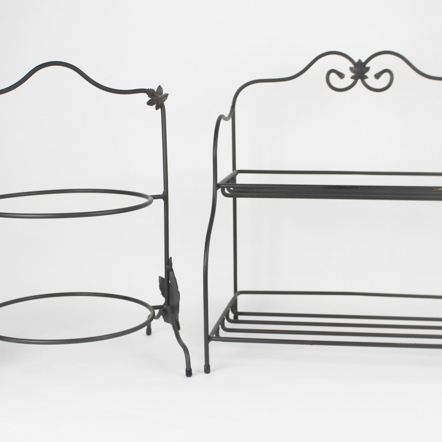 Longaberger 2-Tier Wrought Iron Sm. Bakers Rack and Plate Rack : EBTH