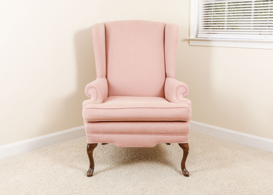 Queen Anne Style Pink Stripe Upholstered Wingback Chair ...