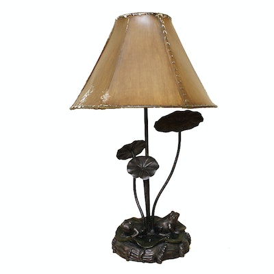 Antique floor lamps table lamps and light fixtures auction in bronze frogs lamp cowhide shade mozeypictures Gallery