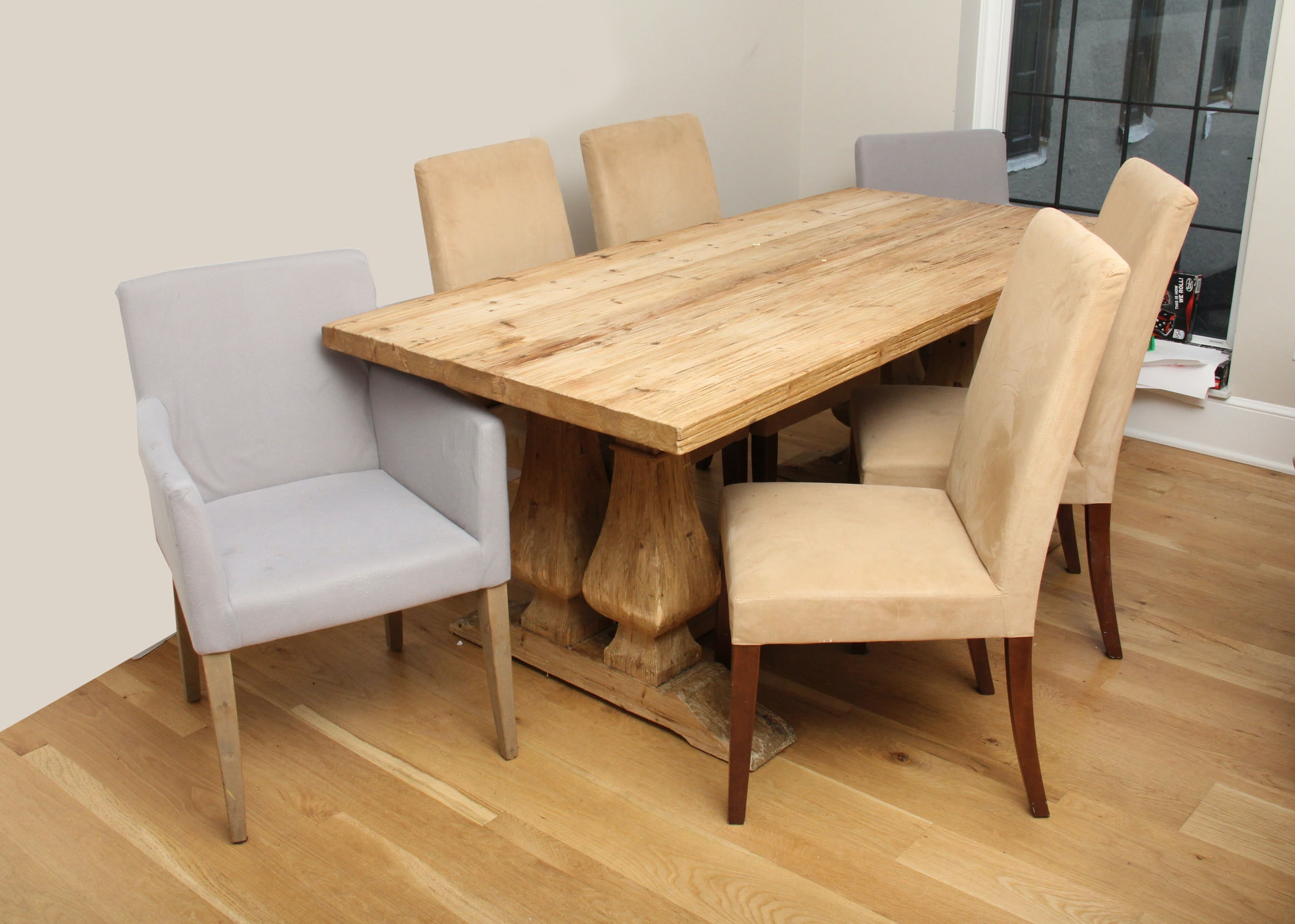 Rustic Rough Hewn Cypress Wood Table And Chairs ...