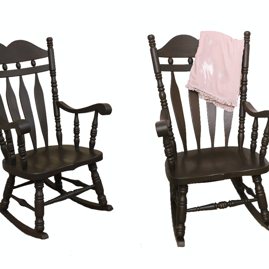 Astounding Pair Of Cottage Style Solid Wood Rocking Chairs Onthecornerstone Fun Painted Chair Ideas Images Onthecornerstoneorg