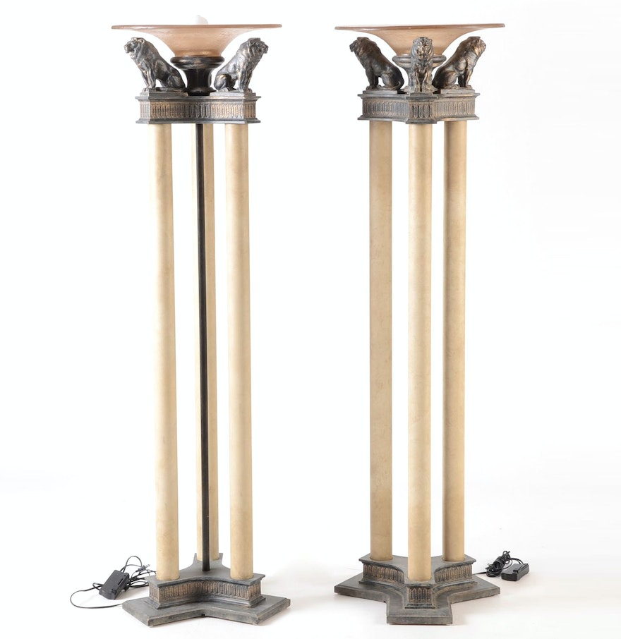 Pair contemporary neoclassical style torchiere floor lamps for Contemporary torchiere floor lamps