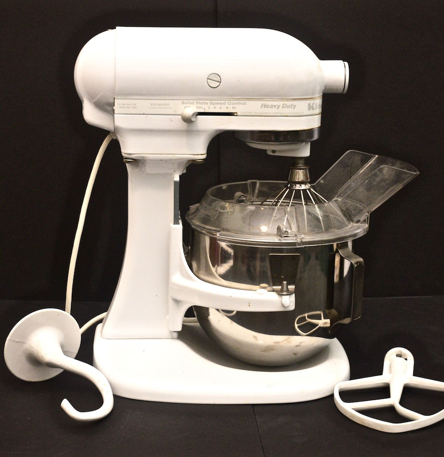 kitchenaid heavy duty stand mixer model ksm5 in white ebth. Black Bedroom Furniture Sets. Home Design Ideas