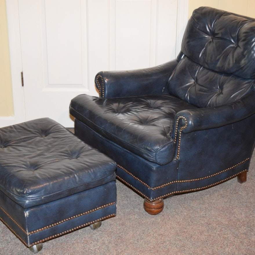 Blue Leather Upholstered Tufted Club Chair And Ottoman Ebth