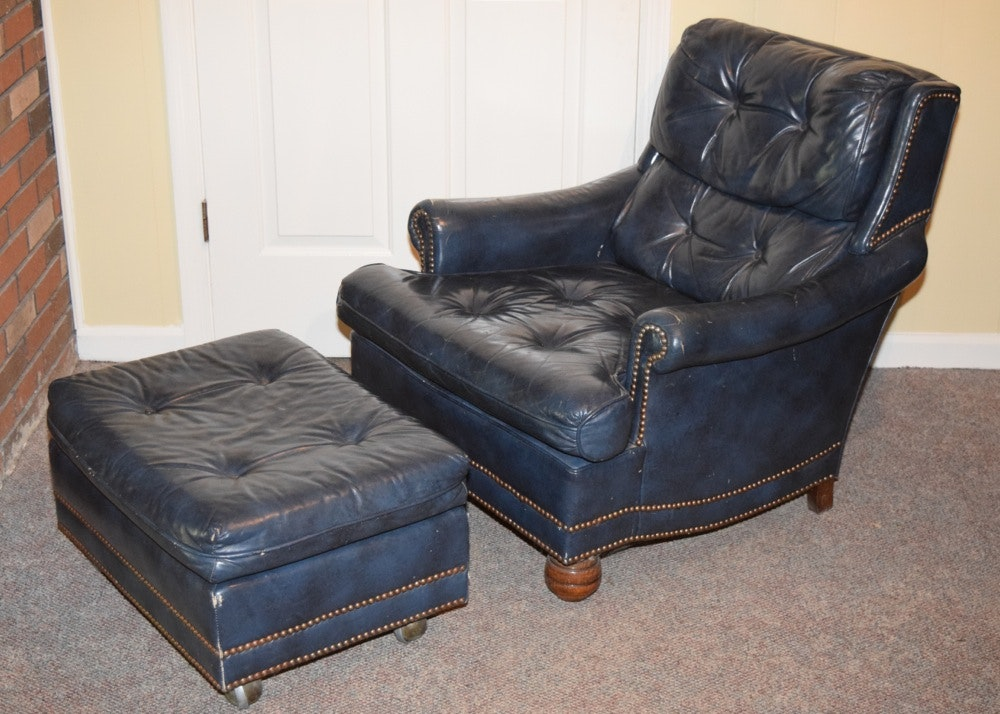 Beau Blue Leather Upholstered Tufted Club Chair And Ottoman ...