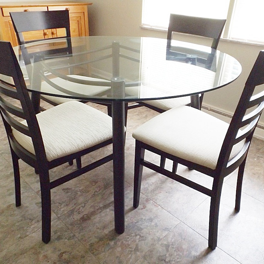 Modern Italian Glass-Top Metal Dining Table With Four