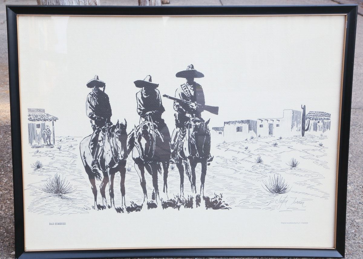 "Clayton Auto Sales >> Clayton Turner ""Bad Hombres"" Framed Art : EBTH"