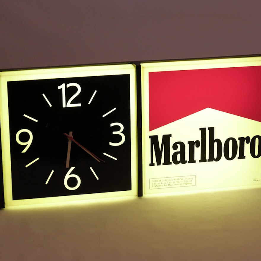 Marlboro Electric Wall Sign and Clock