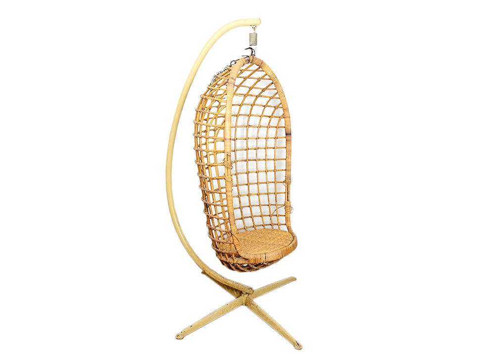 Mid Century Hanging Rattan Egg Chair ...