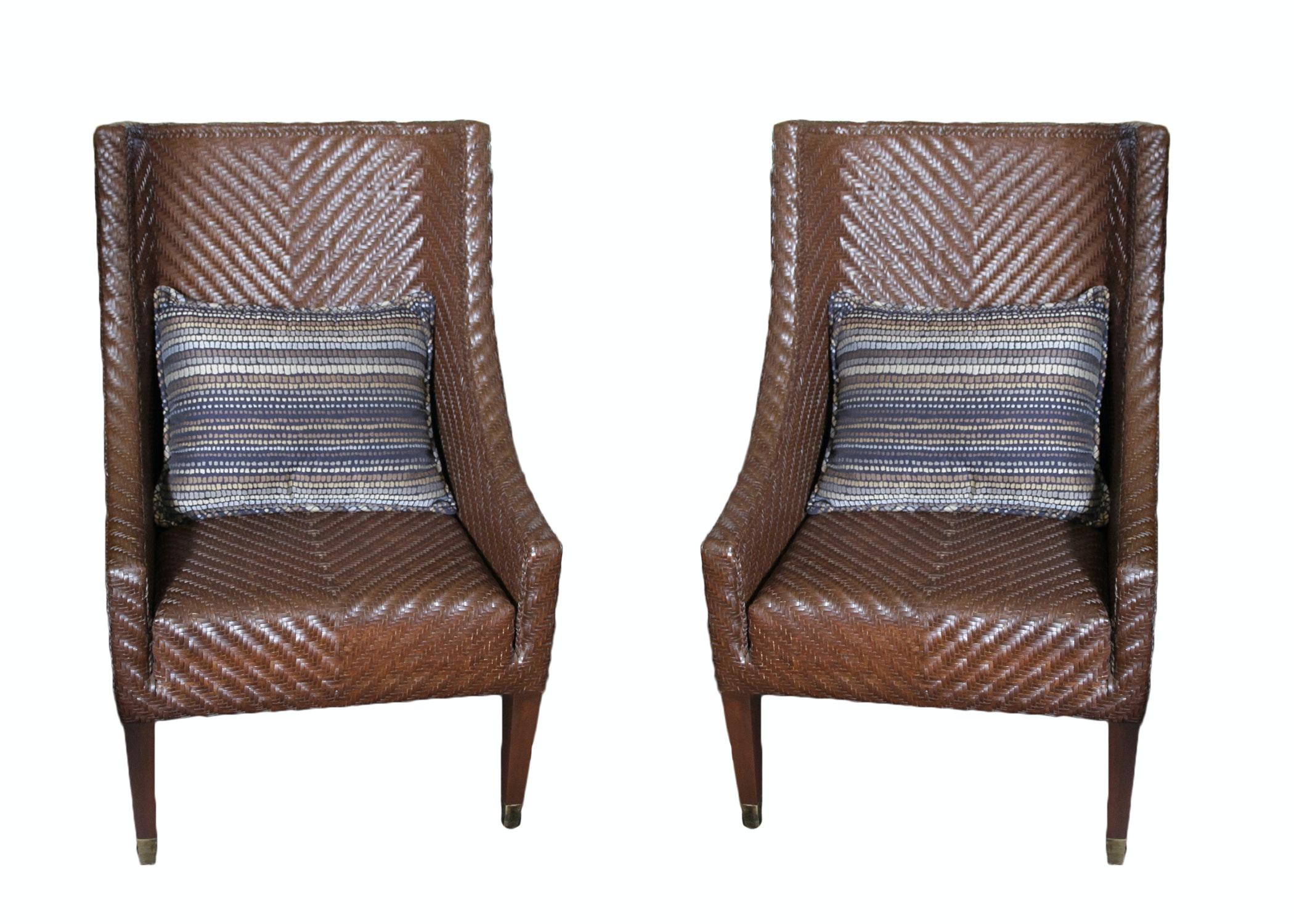 Pair Of Woven Leather Chairs ...
