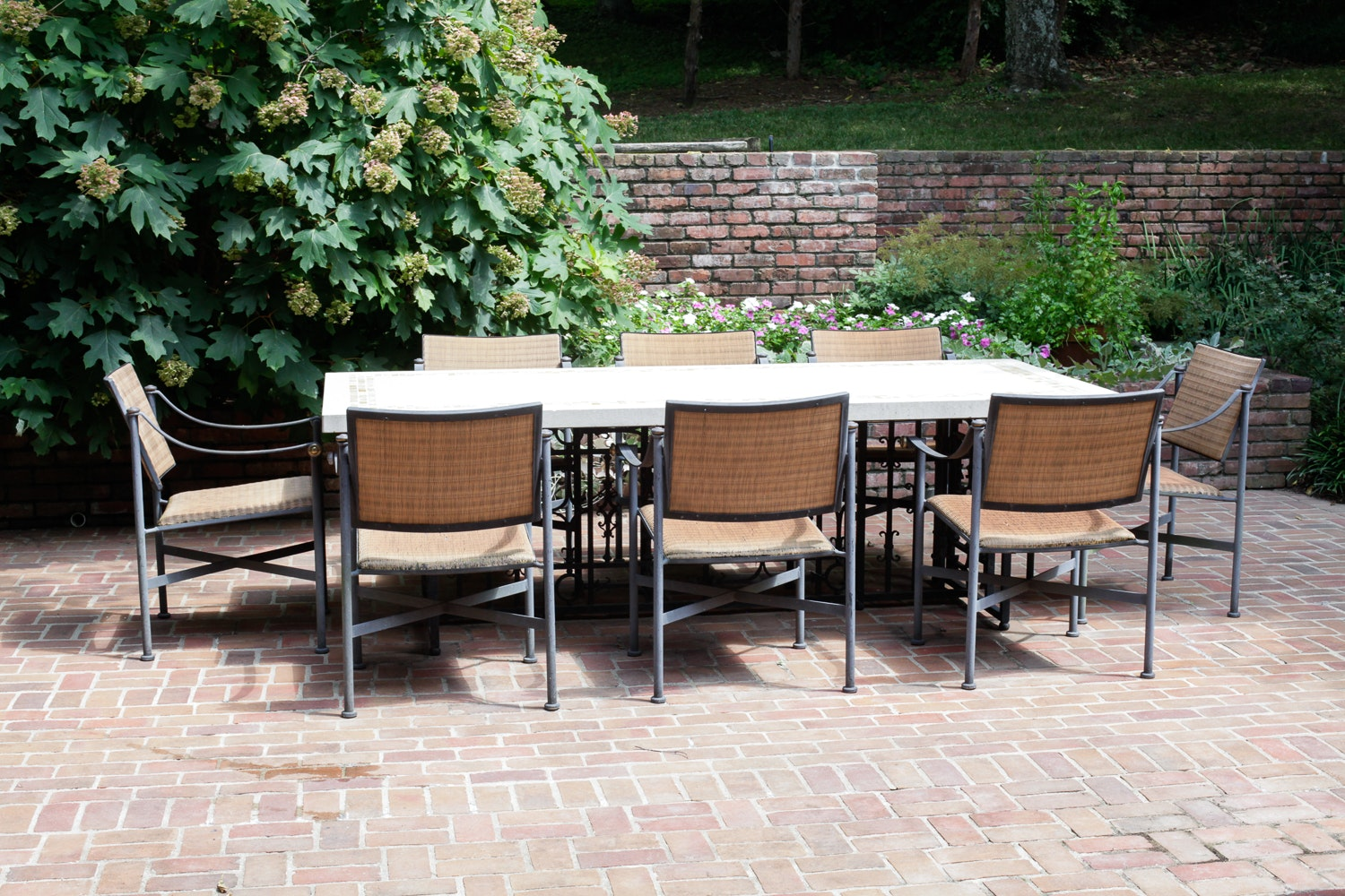 limestone patio table and chairs ebth