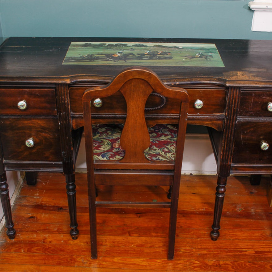 Antique Mahogany Desk and Fiddle Back Chair ... - Antique Mahogany Desk And Fiddle Back Chair : EBTH