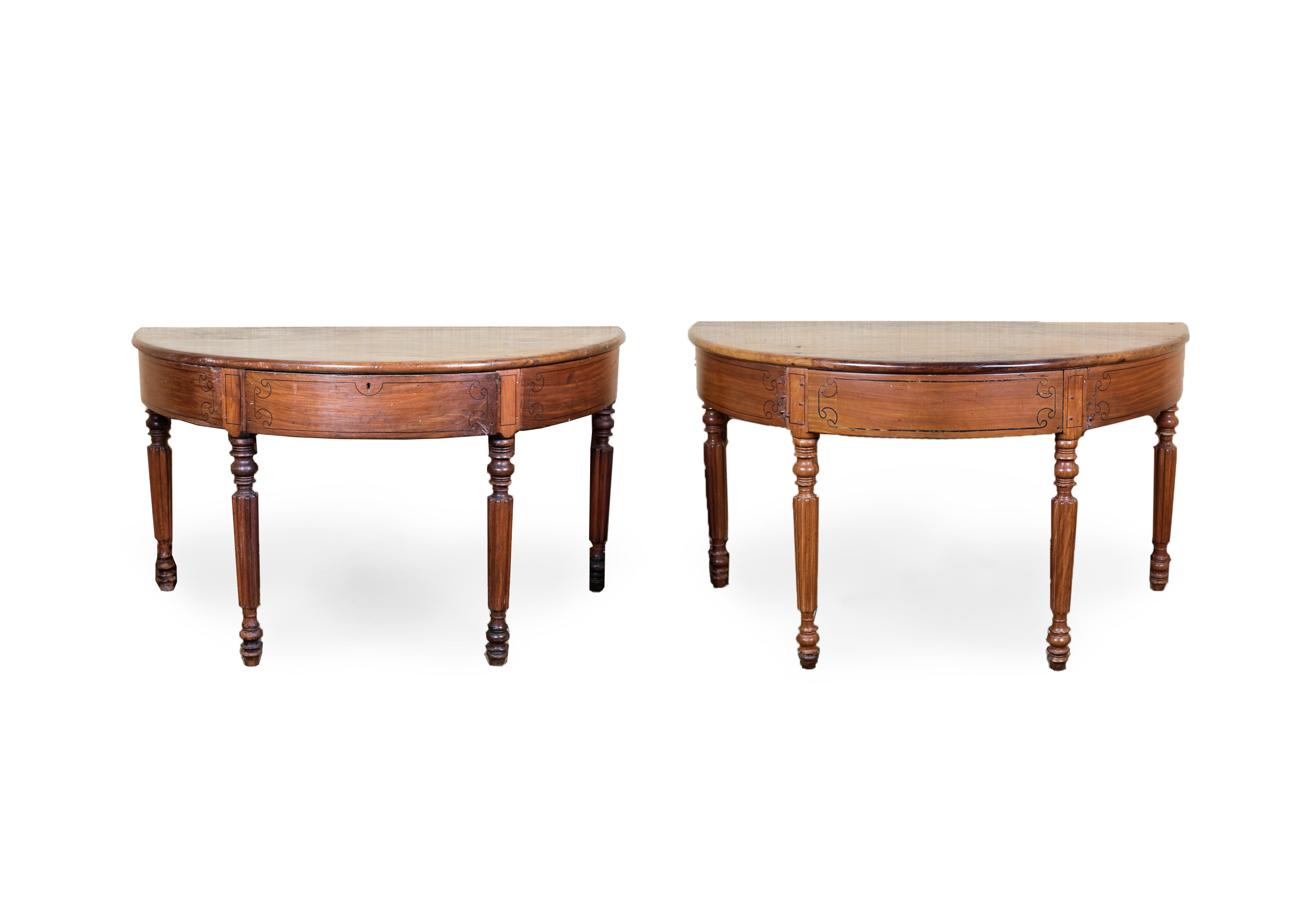 Pair of Antique Demilune Tables : EBTH