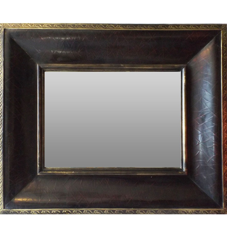 Faux leather framed wall mirror ebth faux leather framed wall mirror amipublicfo Gallery