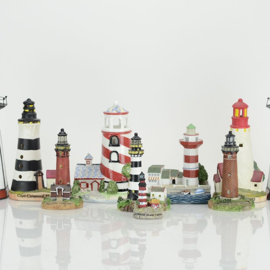 Collection of Large and Small Model Lighthouse Lights