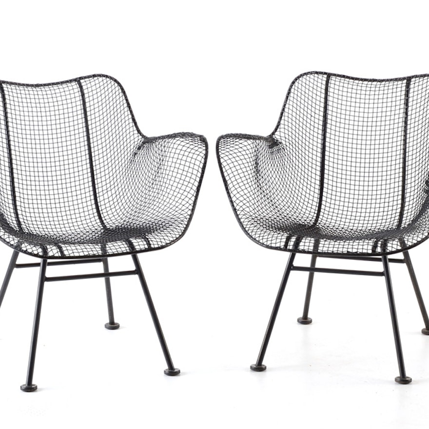 two woodard sculptura wire mesh arm chairs ebth