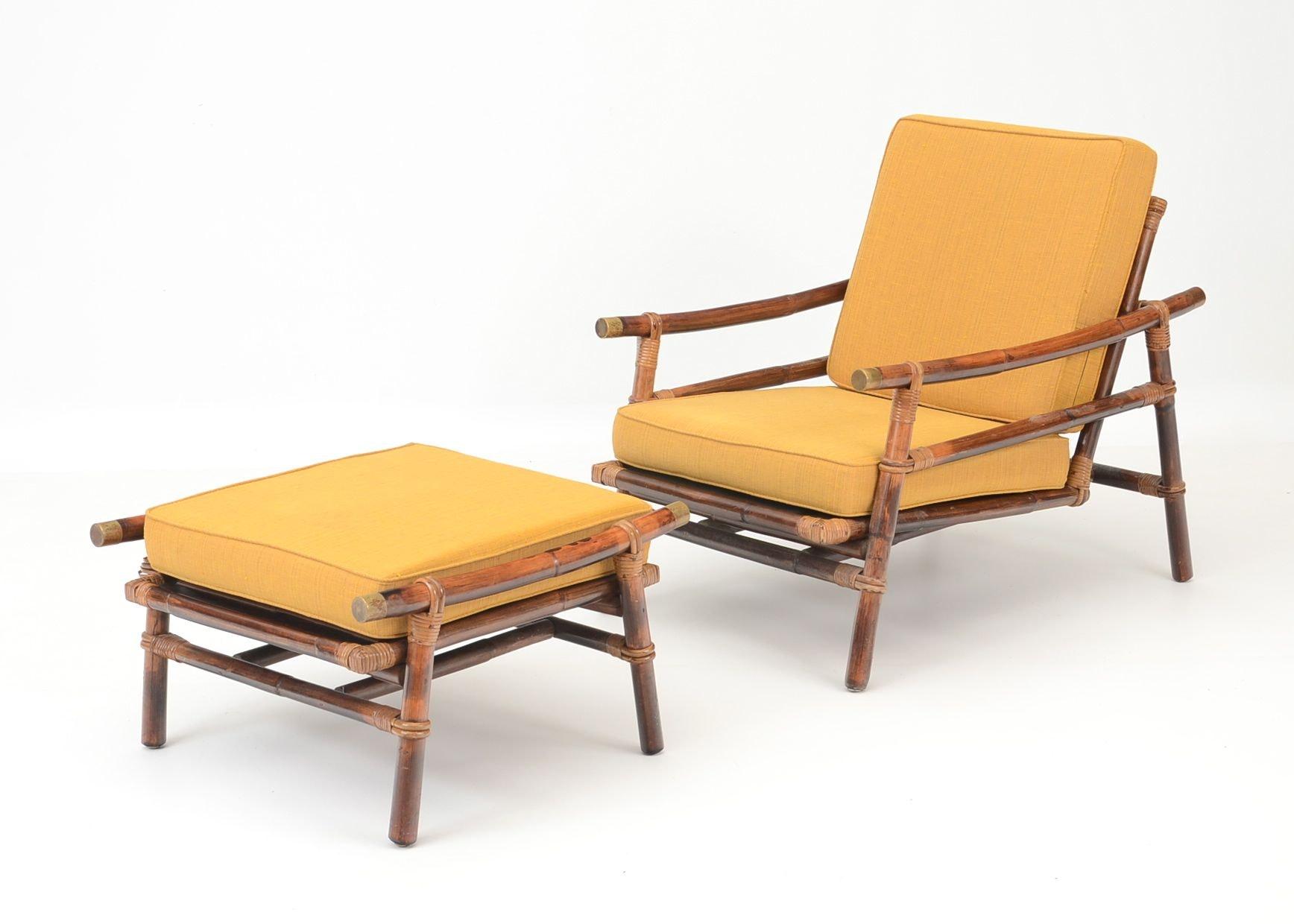 Ficks Reed Rattan Lounge Chair And Ottoman ...
