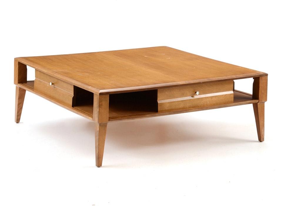 heywood wakefield blond birch square coffee table ebth