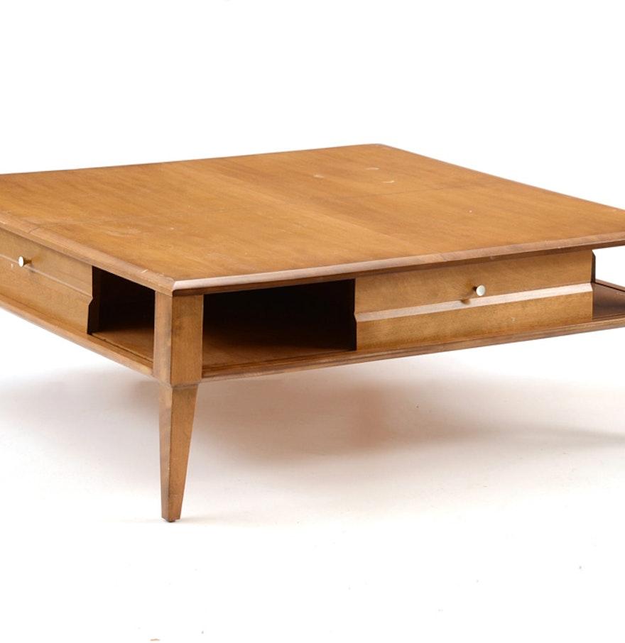 Heywood Wakefield Mid Century Coffee Table End Tables: Heywood Wakefield Blond Birch Square Coffee Table : EBTH