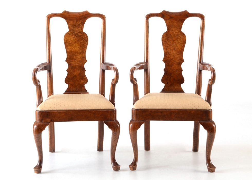 Pair Of Henredon Queen Anne Arm Chairs ...