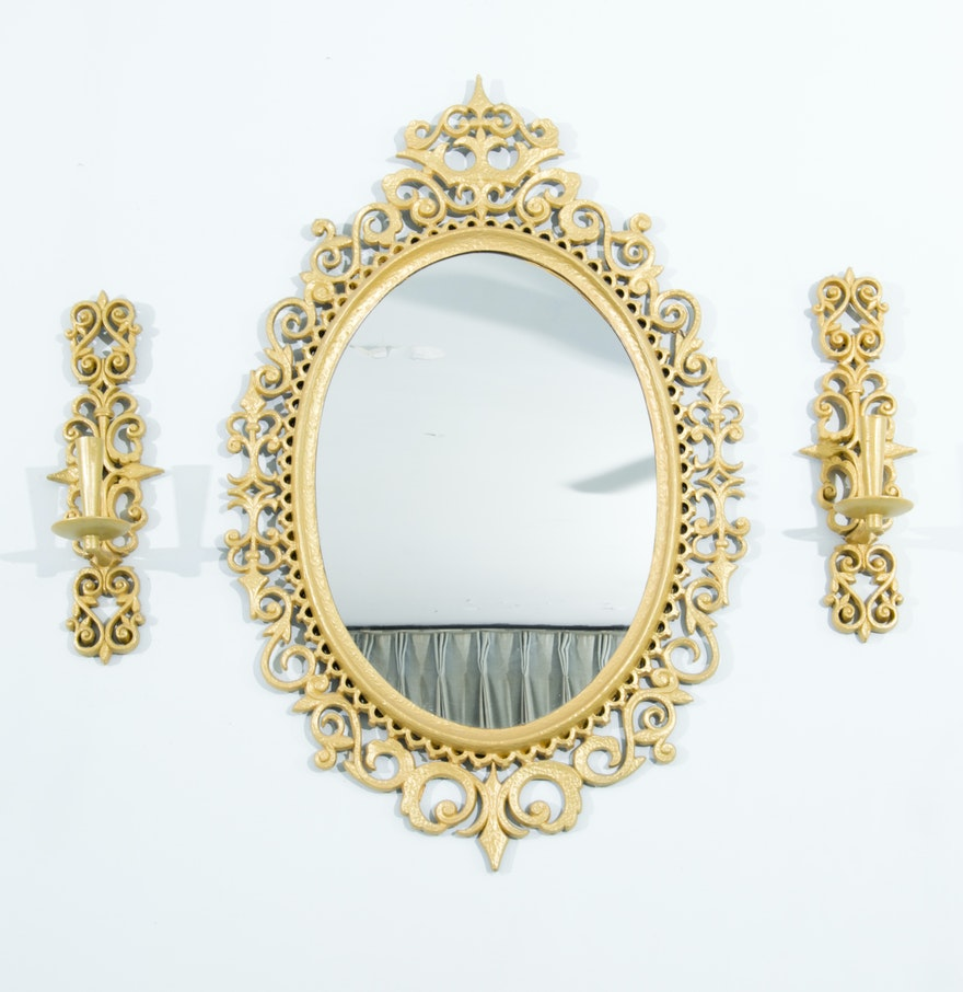 Gold painted wooden wall mirror with candle sconces ebth gold painted wooden wall mirror with candle sconces amipublicfo Images