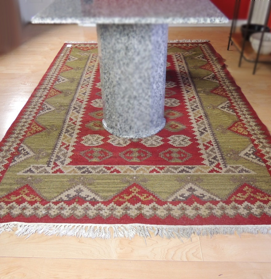 Hand Knotted Indo Persian Obeetee Wool Area Rug Ebth: Handwoven Indian Wool Rug : EBTH