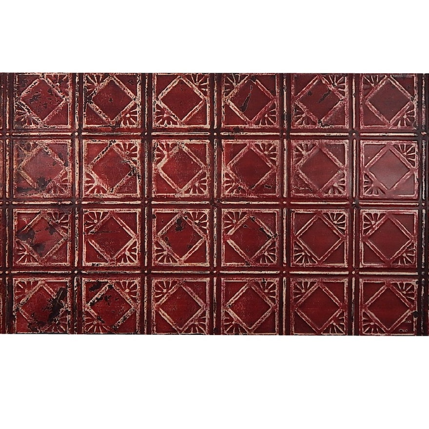 Antique New York City Tin Ceiling Tile Wall Art Red And Black Ebth