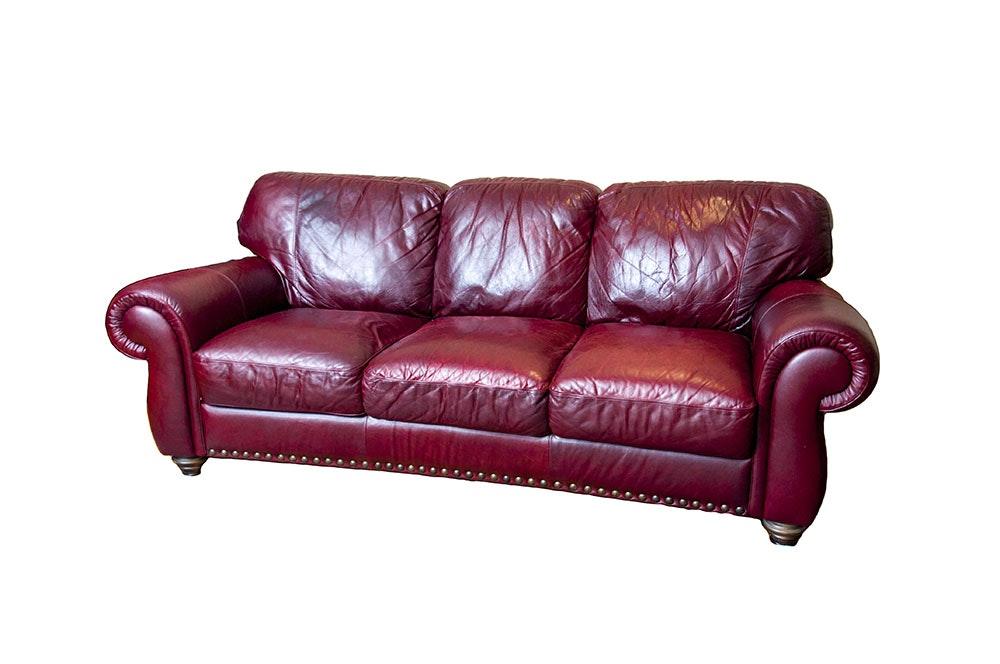 Merveilleux Oxblood Italian Leather Sofa ...