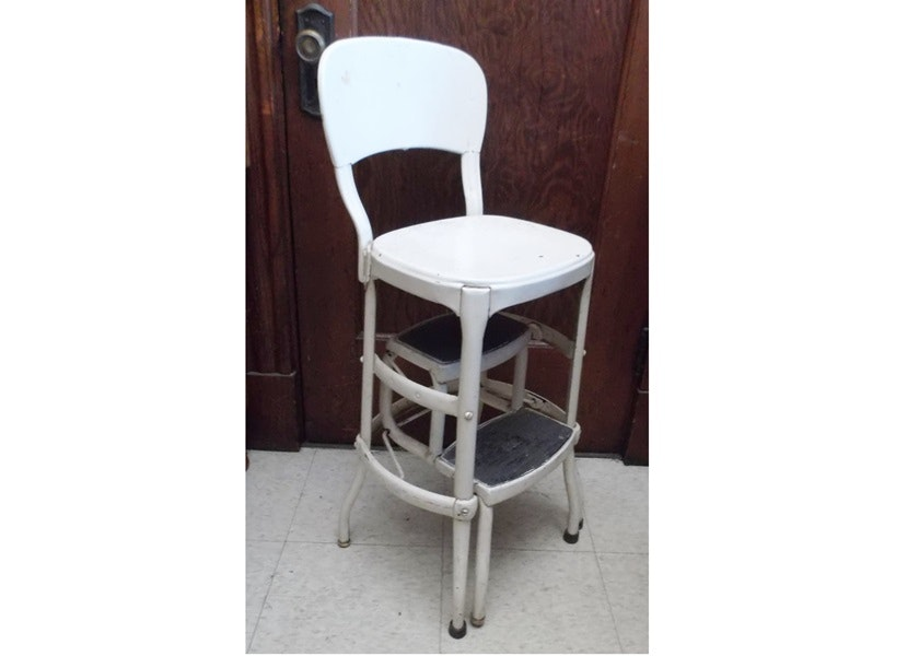 Vintage Metal Step Stool Kitchen Chair Ebth