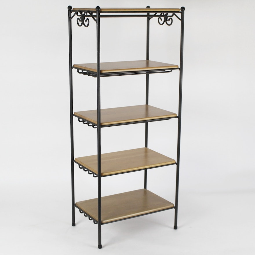 Longaberger Wrought Iron Five Tier Stand W Wood Shelves