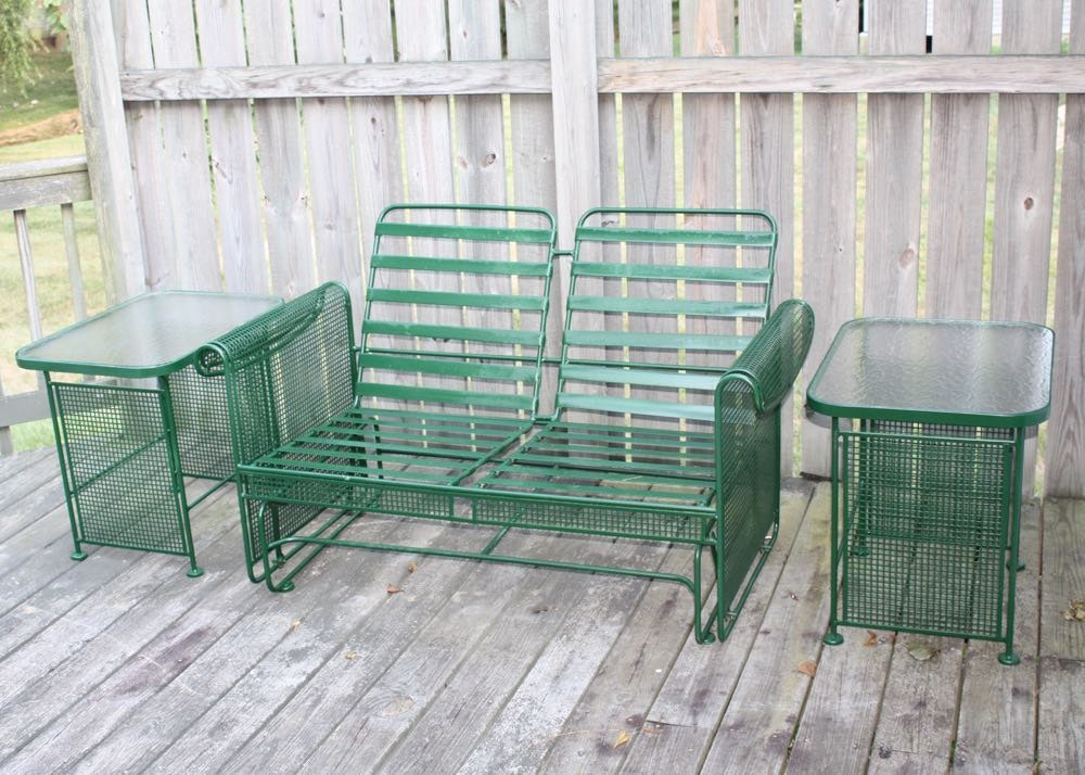 Metal Patio Glider Love Seat And End Tables