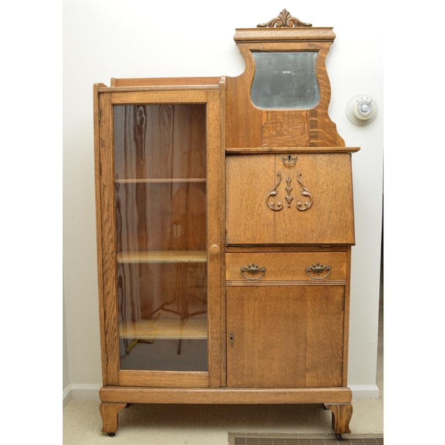 Antique Oliver and Co. Side-By-Side Oak Secretary Bookcase ... - Antique Oliver And Co. Side-By-Side Oak Secretary Bookcase : EBTH