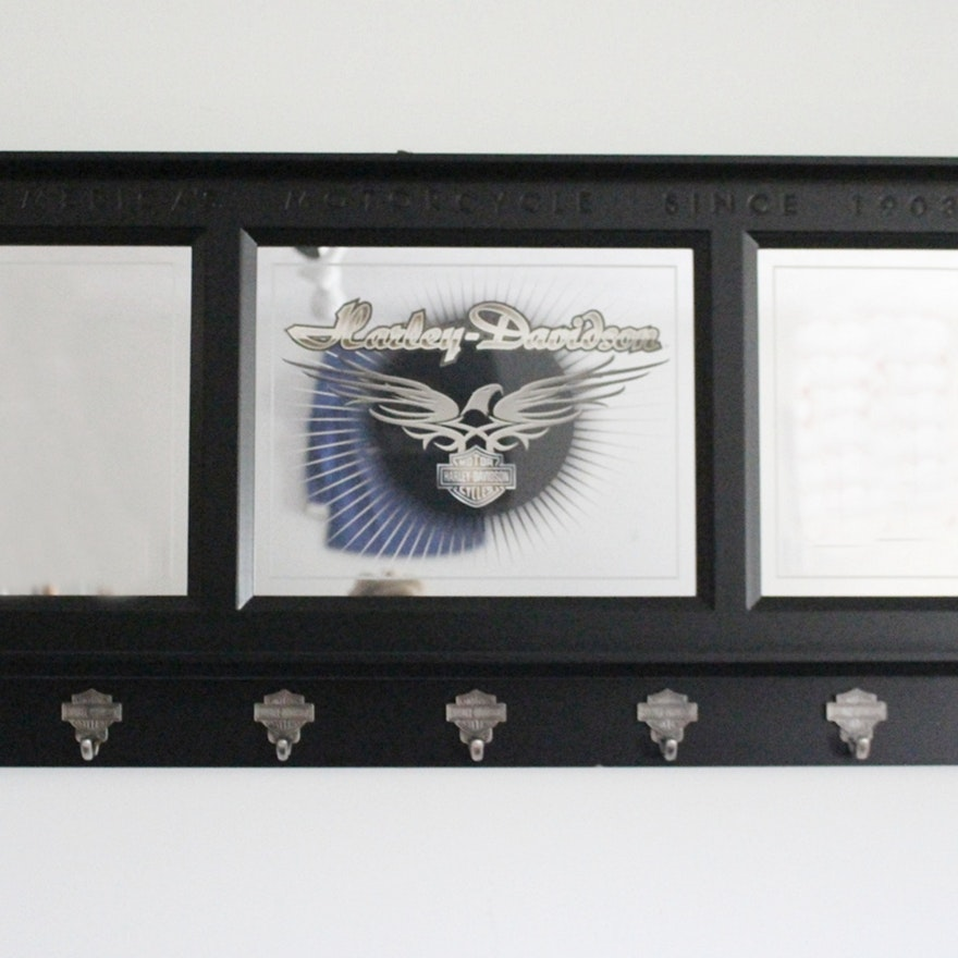 Harley Davidson Wall Mount Etched Mirror Coat Rack EBTH Enchanting Harley Davidson Coat Rack