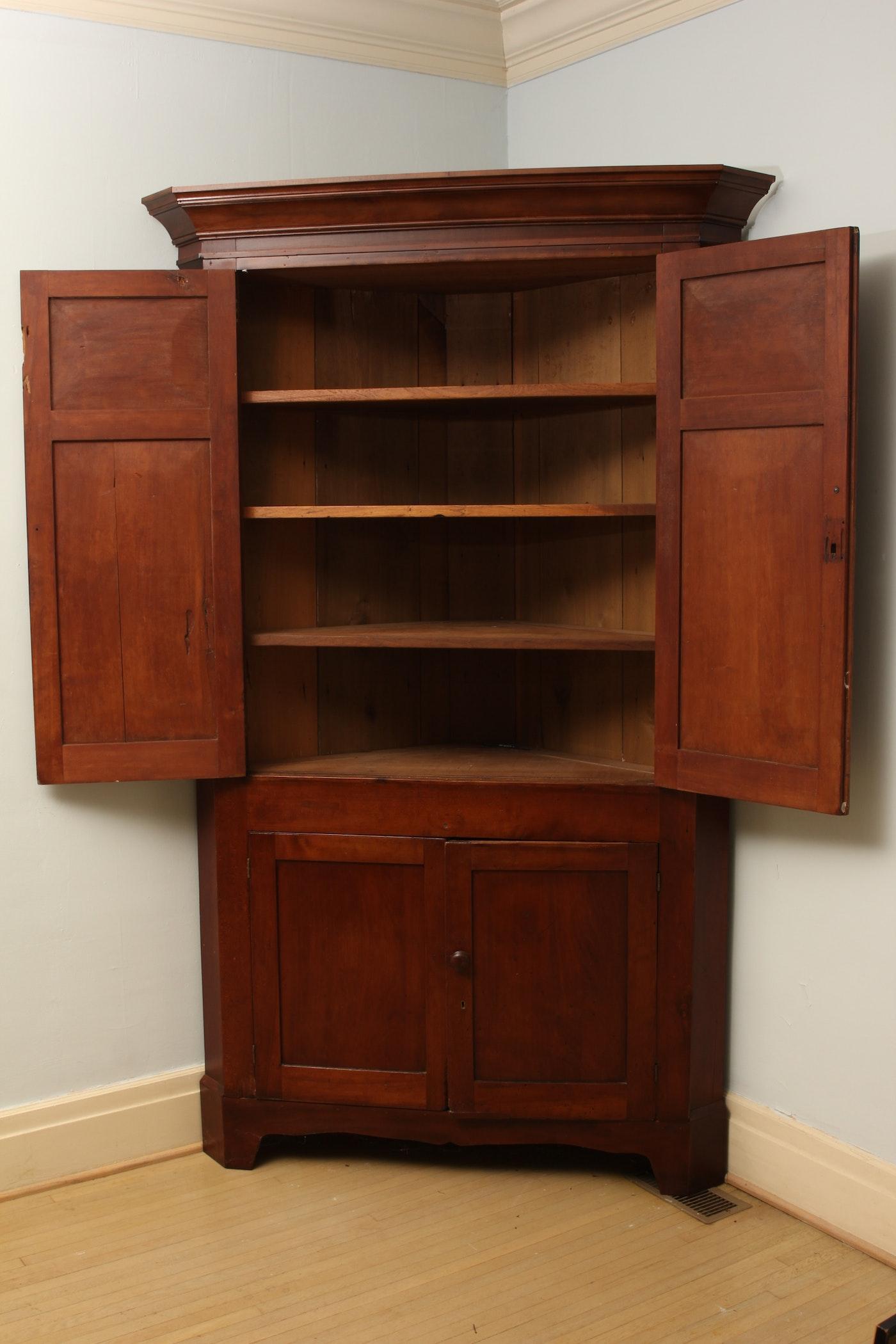 Antique Kentucky Cherry Corner Cupboard Ebth