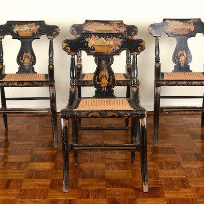 Four Baltimore Painted Cane Seat Chairs - Vintage Chairs, Antique Chairs And Retro Chairs Auction In