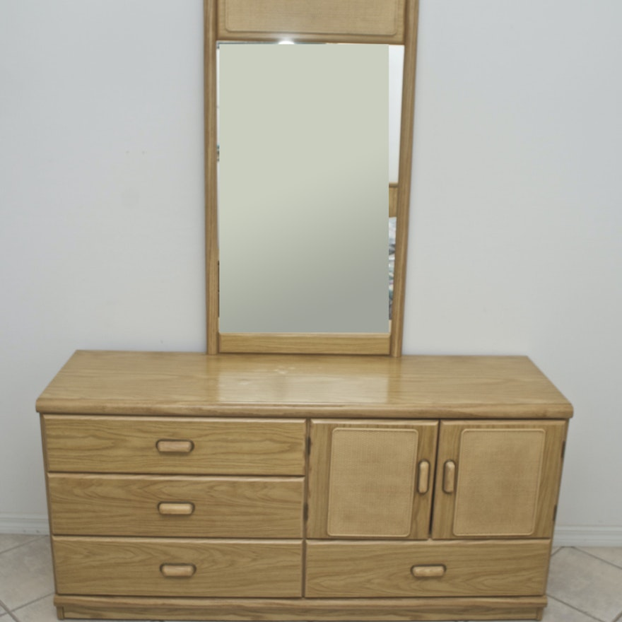 Four Drawer Dresser With Mirror In Light Oak