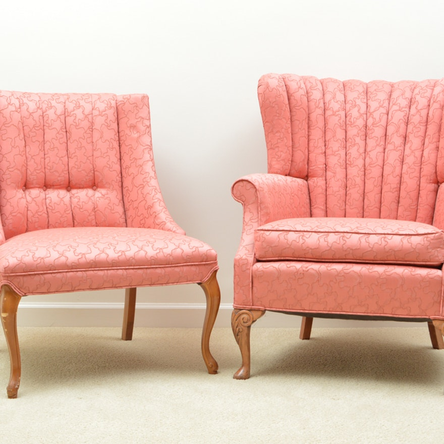 Two Queen Anne Channel Back Upholstered Chairs : EBTH
