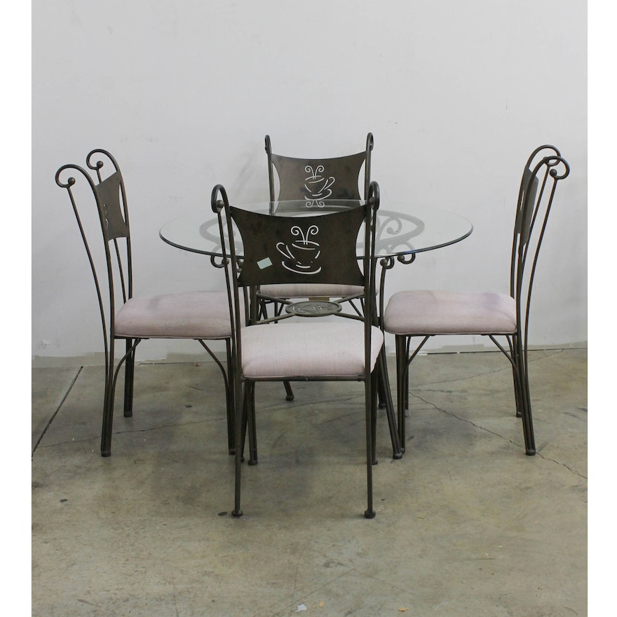 Coffee Table And Chair Sets: Set Of Coffee Themed Chairs With Glass Top Table : EBTH
