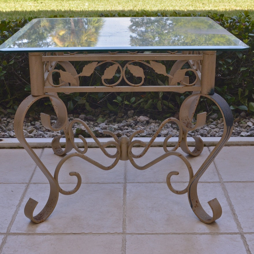 Wrought Iron Side Table With Glass Top EBTH - Iron side table with glass top
