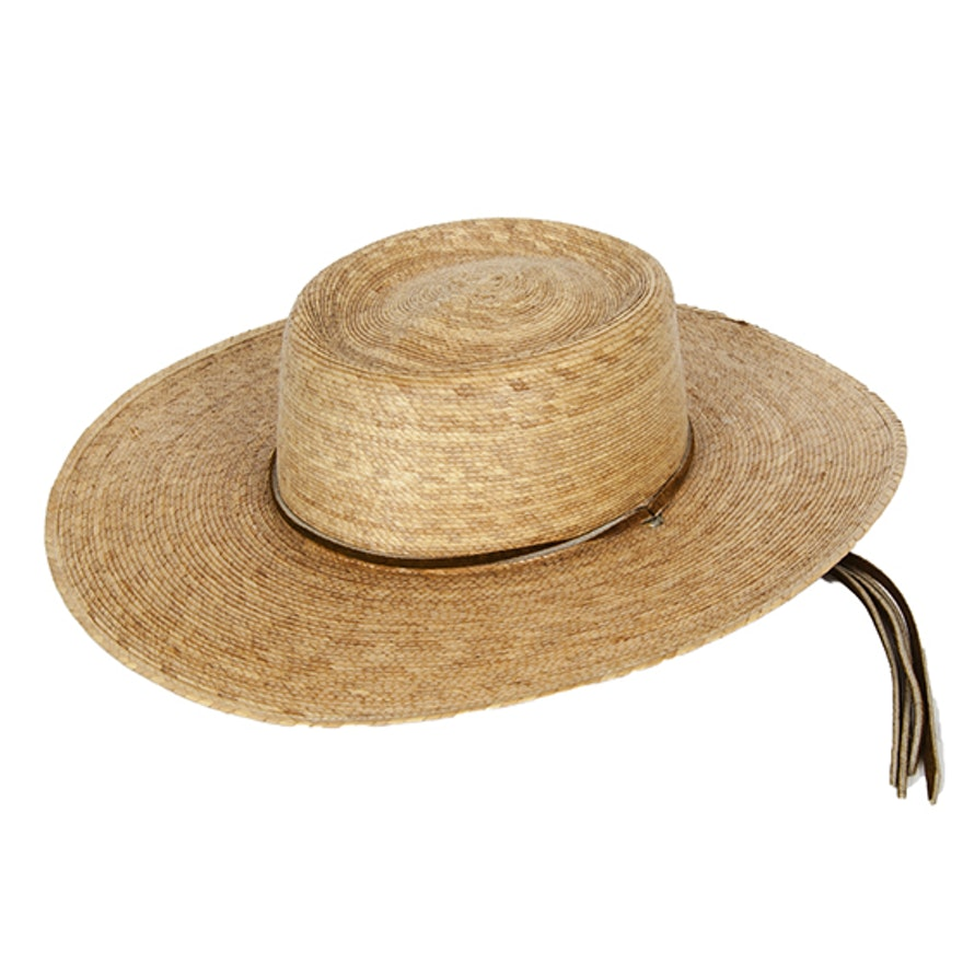 Atwood Palm Straw Hat With Leather Chin Cord   EBTH e1cbae24cfd6